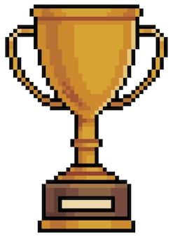 Ícone de troféu de pixel art para 8 bits