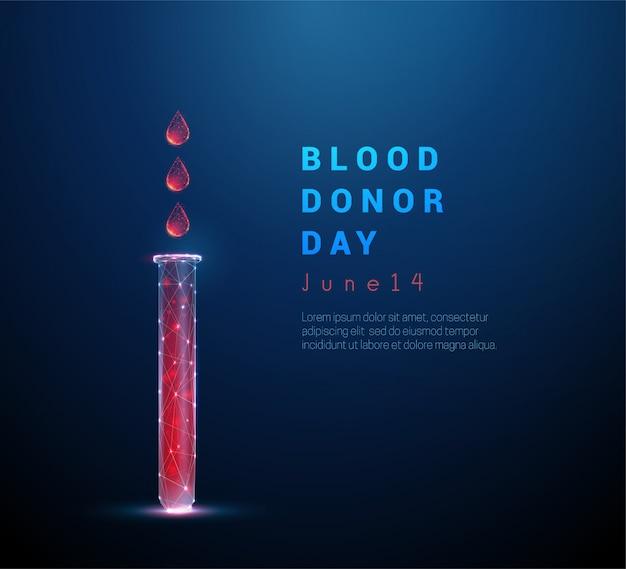 Ícone de tubo médico de baixo poli com sangue