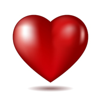 Ícone de um coração vermelho isolado no branco