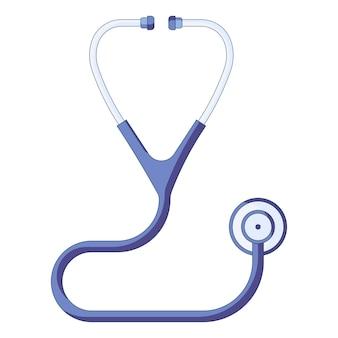 Ícone de um estetoscópio médico azul conceito de cuidados de saúde e primeiros socorros em um estilo simples