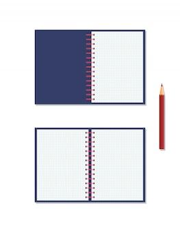 Ícone de um notebook com mola e lápis