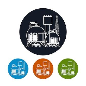 Ícone de uma planta química ou refinaria de processamento de recursos naturais, ou ainda uma planta de fabricação de produtos. silhueta de fábrica química para design industrial e de tecnologia, ilustração vetorial