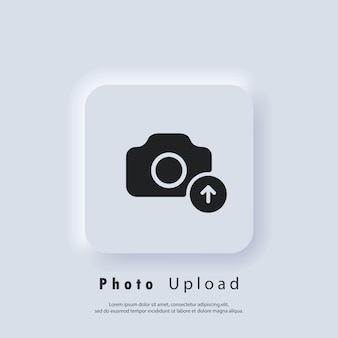Ícone de upload de fotos. ícones lisos de imagem. carregando o logotipo da sua foto. sinal da câmera. vetor eps 10. ícone de interface do usuário. botão da web da interface de usuário branco neumorphic ui ux. neumorfismo