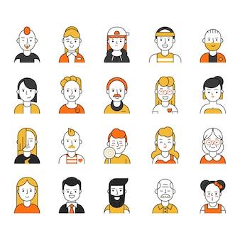 Ícone de usuários definido no estilo linear, vários personagens engraçados masculinos e femininos