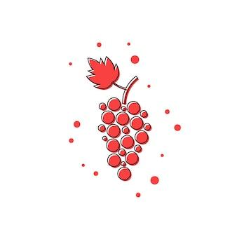 Ícone de uva de linha fina vermelha. conceito de videira, suco de uva, adega, bebida de restaurante, uvas maduras. isolado no fundo branco. ilustração em vetor design moderno logotipo tendência estilo simples