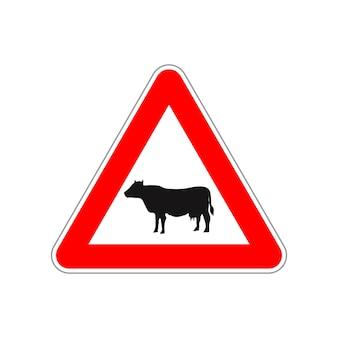 Ícone de vaca no sinal de trânsito vermelho e branco triangular isolado no branco