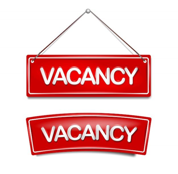 Ícone de vaga contratação para novo emprego na placa da porta em vermelho. modelo para vago em casa