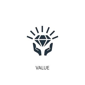 Ícone de valor. ilustração de elemento simples. design de símbolo de conceito de valor. pode ser usado para web e celular.