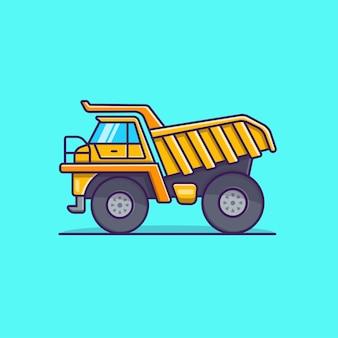 Ícone de veículo de construção de caminhão basculante plano