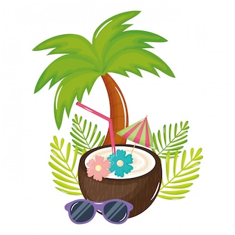 Ícone de verão coquetel de coco tropical
