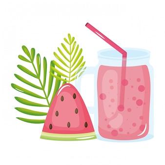 Ícone de verão fresco suco fruta jarra