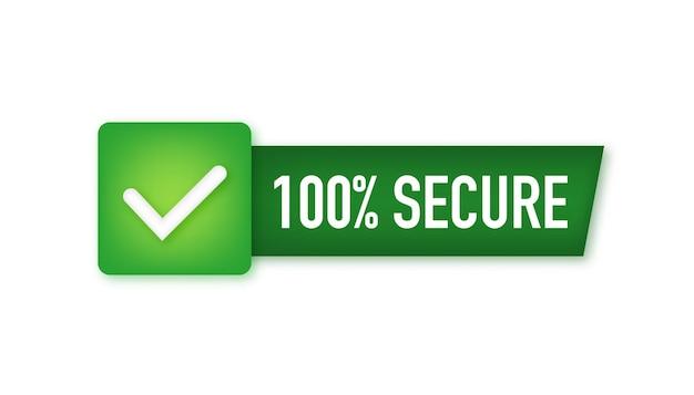 Ícone de vetor 100 seguro grunge. emblema ou botão para site de comércio. ilustração em vetor das ações.