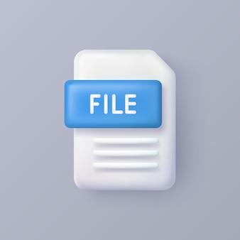 Ícone de vetor 3d de arquivo ou documento