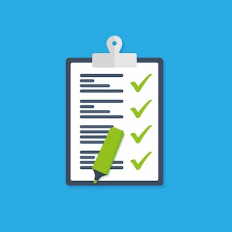 Ícone de vetor da lista de verificação do ícone da área de transferência