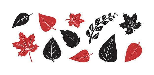 Ícone de vetor de árvore de folha de outono, silhuetas pretas e vermelhas de planta, folhas de outono de diferentes formas isoladas no fundo branco. ilustração da natureza
