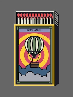 Ícone de vetor de caixa de fósforos e fósforos ilustração de design de embalagem de caixa de fósforo vintage e exclusiva