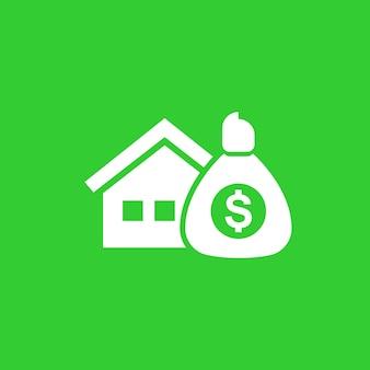 Ícone de vetor de casa e dinheiro
