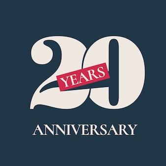 Ícone de vetor de celebração de aniversário de 20 anos, logotipo. elemento de design gráfico de modelo para cartão de 20º aniversário