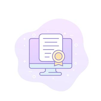 Ícone de vetor de certificação online com contorno