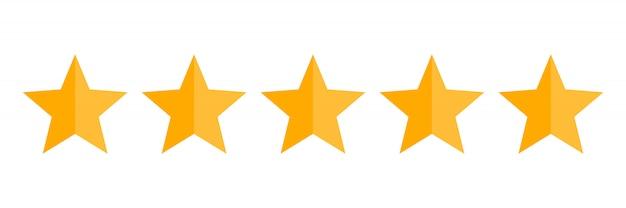 Ícone de vetor de classificação de cinco estrelas