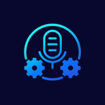 Ícone de vetor de configurações de gravação, microfone e engrenagens