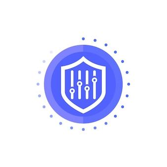 Ícone de vetor de configurações de segurança com escudo