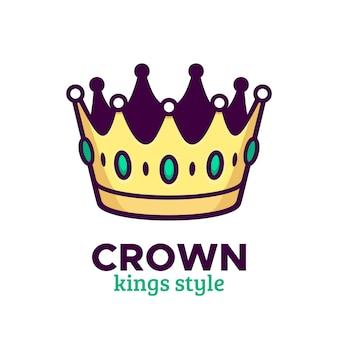 Ícone de vetor de coroa dourada ou design de logotipo