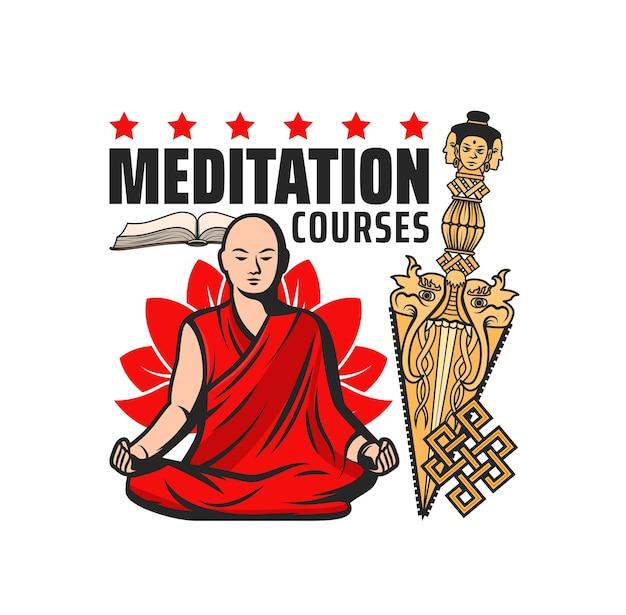 Ícone de vetor de cursos de meditação budista com símbolos isolados da religião budista. monge meditando em posição de lótus com nó infinito ou eterno, kila de ouro ou adaga phurba e livro de sutra