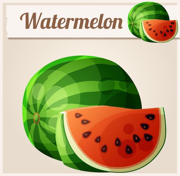 Ícone de vetor de desenho animado de melancia