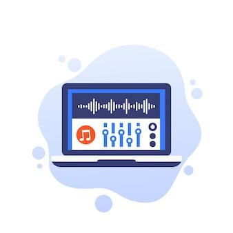 Ícone de vetor de edição de áudio e produção de som