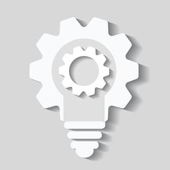 Ícone de vetor de engrenagens de lâmpada, lâmpada