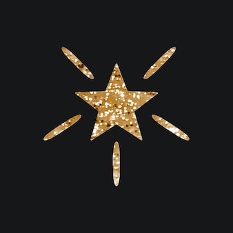 Ícone de vetor de estrelas cintilantes com textura de glitter em fundo preto