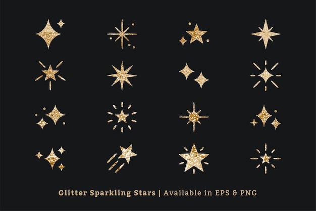Ícone de vetor de estrelas cintilantes definido com textura de glitter