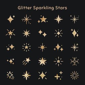 Ícone de vetor de estrelas cintilantes definido com textura de glitter Vetor grátis
