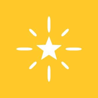 Ícone de vetor de estrelas cintilantes em estilo simples em fundo amarelo