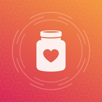 Ícone de vetor de frasco de pílulas