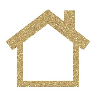 Ícone de vetor de glitter dourados de casa isolada no fundo.