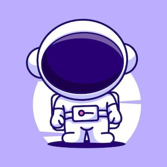 Ícone de vetor de ilustração de mascote de desenho animado bonito astronauta