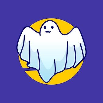 Ícone de vetor de ilustração de mascote de desenho bonito fantasma de halloween