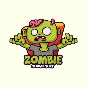 Ícone de vetor de ilustração de personagem de logotipo de mascote zumbi