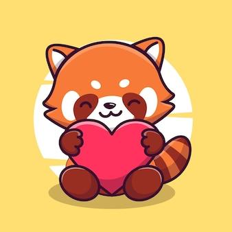 Ícone de vetor de ilustração de personagem mascote panda vermelho fofo