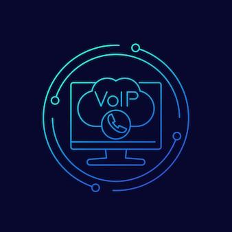 Ícone de vetor de linha de chamada voip