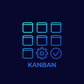 Ícone de vetor de linha de método kanban