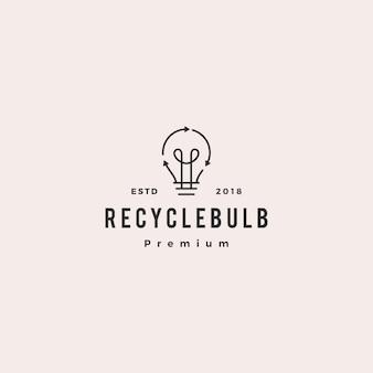 Ícone de vetor de logotipo de energia de lâmpada de lâmpada de reciclagem