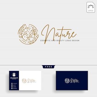 Ícone de vetor de logotipo de linha beleza cosméticos naturais