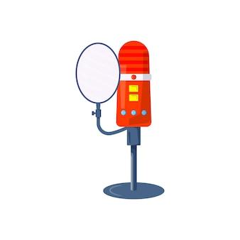Ícone de vetor de microfone para podcast de mídia, hospedagem de mídia. modelo de design definido para gravação de símbolo, logotipo, emblema e rótulo de estúdio. sinal de voz, ilustração colorida da moda Vetor Premium