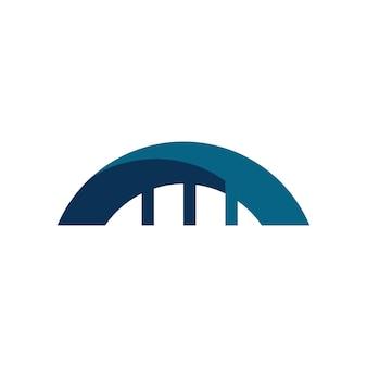 Ícone de vetor de modelo de design de logotipo de construção de ponte
