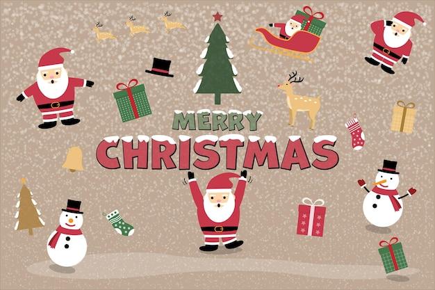 Ícone de vetor de natal definido decoração de evento de ano novo