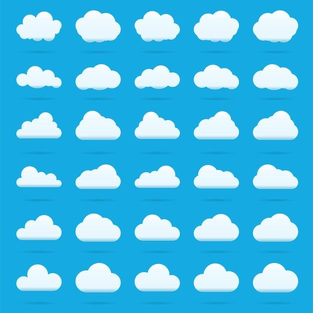 Ícone de vetor de nuvem definir cor branca sobre fundo azul. coleção de ilustração plana do céu para web, arte e design de aplicativos. símbolos de tempo de cloudscape de natureza diferente.