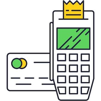 Ícone de vetor de pagamento pós-terminal para máquina de pagamento